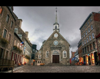 Old Church Square at Dusk - Quebec City