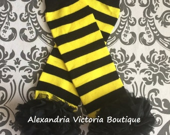 BUMBLE BEE LEGWARMERS, baby leg warmers, striped leg warmers, girls leg warmers, chiffon ruffle leg warmers, halloween, cake smash.