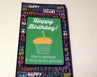 Birthday waterfall folio mini album, birthday brag book, premade mini album, photo ready scrapbook