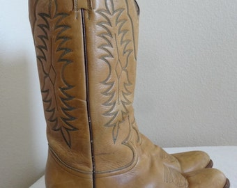 Vintage 'Rudel' Tan Leather Cowboy Boots - UK Size 11