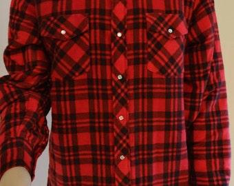 """Vintage 'Wrangler' Padded Lumberjack Shirt - Size XL Chest 50"""" Length 32"""""""