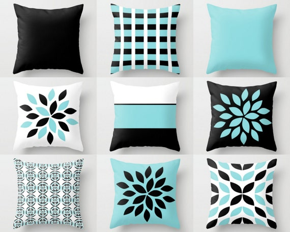 Black White Tan Throw Pillows : Couch Pillow Covers Aqua Black White Pillow Covers Floral