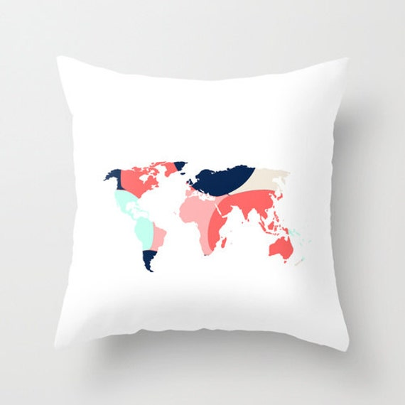 World Map Pillow Cover Throw Pillow Cover Accent by HLBhomedesigns