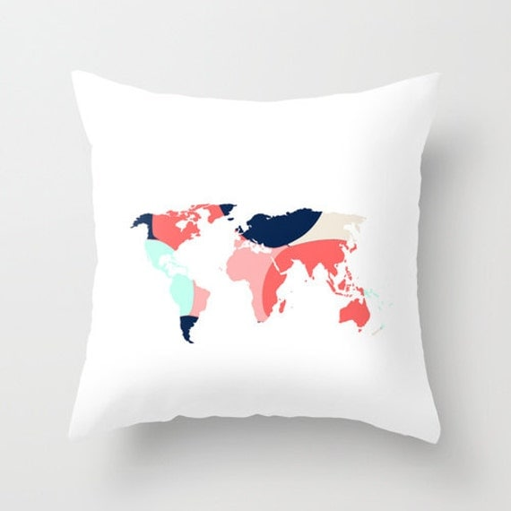 Throw Pillows With World Map : World Map Pillow Cover Throw Pillow Cover Accent by HLBhomedesigns