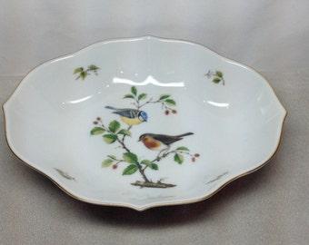 Vintage Kaiser Tirol Oval Bowl Deep Dish Bird Finch Blue Red Yellow Perch Branch Porcelain Golden Crown West Germany Wedding Gift Anniversay