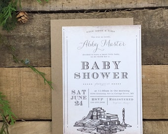 vintage - classic baby book shower invitation
