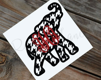 Houndstooth Elephant with Monogram Decal