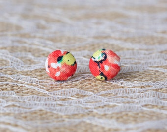 Red and Yellow Floral Button Earrings - Floral Button Earrings - Button Earrings - Fabric Button Stud Earrings - Button Jewelry - Buttons