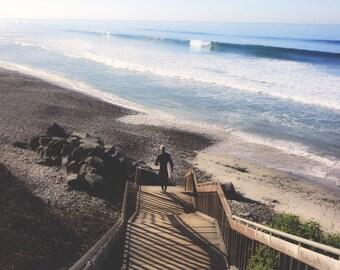 Surfer Photo | Ocean Waves | Stairway to Beach | Pacific Ocean Photo | California Surfer Art | Carlsbad Beach Photo | California Ocean art