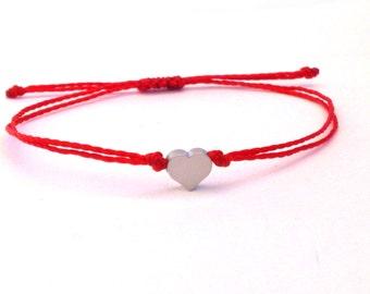 Red String Bracelet/Kabbalah Bracelet with a Rhodium Plated Heart Metal Bead