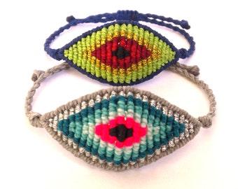 Evil Eye Macrame Bracelet,Micromacrame Jewerly