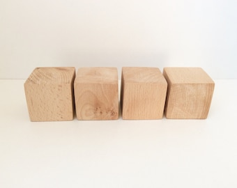 "2"" Wooden Blocks - Unfinished Wooden Cubes - Wood Crafts - Montessori  DIY Projects - Set of 4"