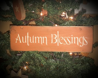 Primitive Autumn Blessings Sign with Wire Hanger