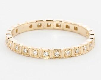 14k gold diamond eternity band, diamond full eternity band, stack ring, diamond wedding ring,14k yellow, rose gold,white gold option, w-r103