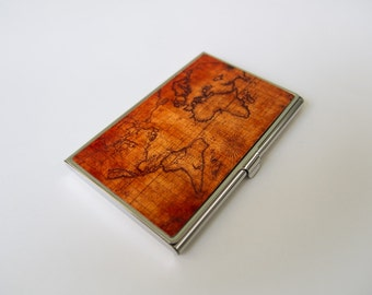 Vintage World Map - Card Holder, Business Card Case, Credit Card Case