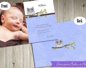 Personalized Photo Birth Announcement - Blue-Owl - Digital printable file