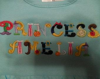 Princess Font Letters Custom Embroidery Disney Princess Belle Snow White Rapunzel Aurora Tiana Ariel Little Mermaid Cinderella