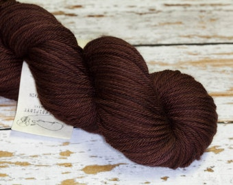 KMW Hand Dyed Yarn Worsted Superwash Merino Wool in Dark Chocolate Brown