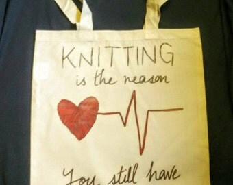 WIP/project bag - knitting is the reason you still have a pulse
