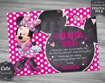 MINNIE CHALKBOARD THANK you card, Minnie, Thank you card, Minnie Mouse Thank you, Minnie Chalkboard