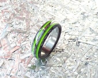 carbon fiber ring & sweet midori green