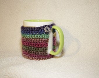 Colorful Crochet Mug Cozy Coaster with Button