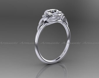 Leaf Flower White Sapphire  Engagement Ring , White Gold White Sapphire And Diamond Wedding Ring, Floral Ring, Promise Ring, Re00145wws