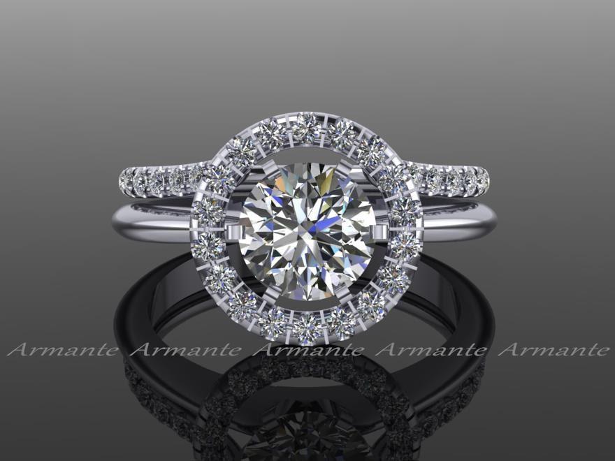 halo ring guard ring enhancer wedding ring enhancer natural diamonds solitaire enhancer 14k white gold