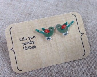 Bird earrings - Bird studs - Quirky earrings - Summer earrings - Cute earrings - Gift for her