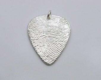 Fingerprint Jewelry, Silver Fingerprint Guitar Pick Pendant, Guitar Pick Fingerprint, Memorial, Personalized Guitar Pick, Men's Gift for Men