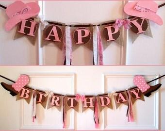Cowgirl Happy Birthday Banner