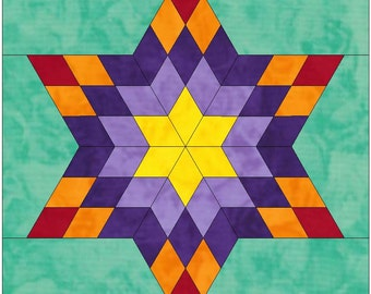 Nine by Six Star Paper Piece Template Quilting Block Pattern PDF
