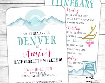 Denver Bachelorette Party Invitation with Itinerary