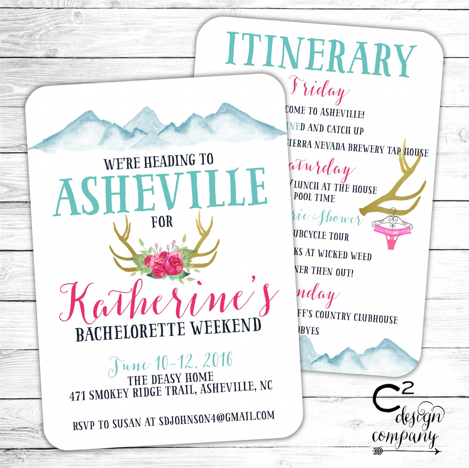 Asheville Bachelorette Party Invitation with Itinerary