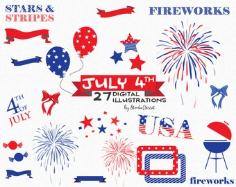 July 4th Cliparts, Patriotic Clip Art, Memorial Day Clipart Firework Illustration American clip art Flag clip art 4th of July Babrbeque C215