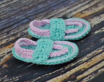Baby Flip Flops - Pink and Aqua