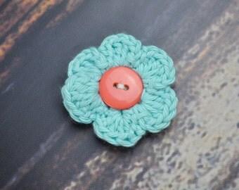 Hair Clip - Flower Accessory - Blue and Peach