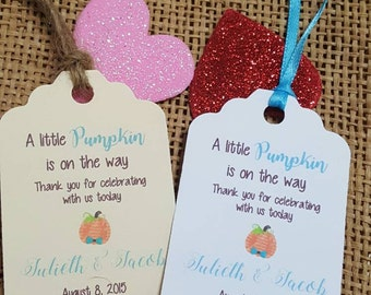 """Personalized Favor Tags 2.5""""Lx1.8""""w, Baby boy Shower  tags, Thank You tags, pumpkin baby shower, fall baby shower, little pumpkin"""