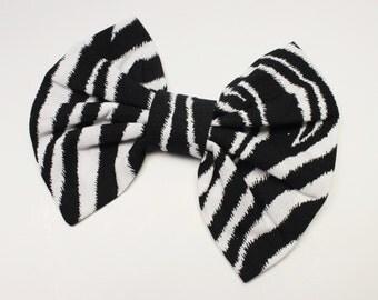 Girl Hair Bow, Zebra Print Bow - Animal Print Hair Bow - Black Hair Bow - White