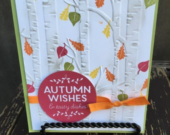 """Stampin Up, Fall/Autumn Card """"Autumn Wishes & Tasty Dishes""""-Among the Branches-Old Olive-Woodland Textured Impressions Embossing Folder"""