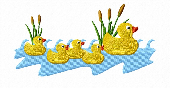 5 ducks in a pond baby machine embroidery file design vip for Design duck pond
