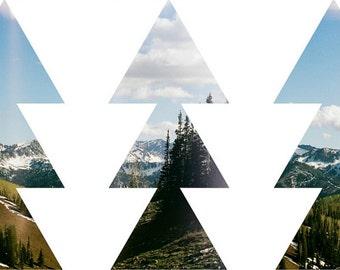Geometric Print Set, Geometric Printables, Adventure Art Set, Outdoorsy Gifts, Mountains Calling, Mountains Peak, Tree Print Set