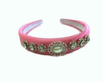 Jewelled Headband Hair Band in Padded Pink Satin Faux pearl cabochons tiara