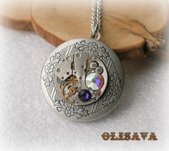Steampunk Book pendant / locket / Antique Silver Plated Brass round Locket Pendant purple , Crystal Aurore Boreale AB Swarovski crystal by Olisava