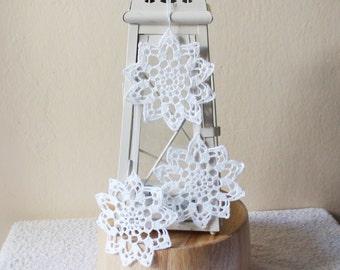 White crochet snowflakes , Christmas ornaments, Christmas tree decorations, crochet snowflakes , Lace snowflakes