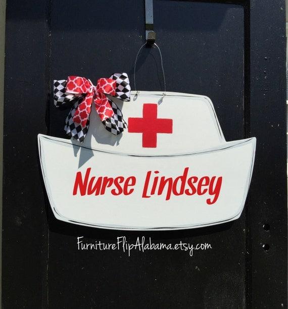 Nurse Hat Wooden Door Hanger Nurse Wreath Nurse Sign