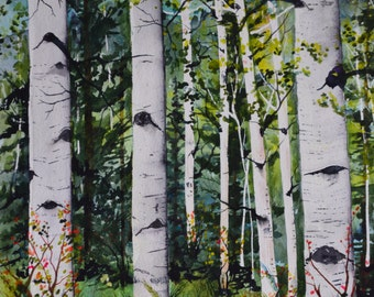 Original art fine art watercolor landscape watercolor painting original aspens Colorado trees forest Quaker trees summer green aqua blue