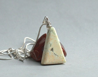 Triangle shape Lemon Chrysoprase gemstone pendant with a silver plated necklace