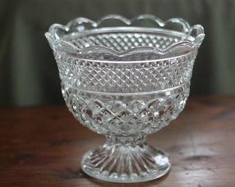 Wexford Bowl, Vintage Clear Glass Serving Bowl with Pedestal, Anchor Hocking, Diamond Pattern, Compote, Bridal Shower, Wedding Serving Bowl