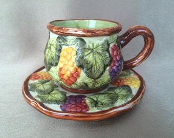 Majolica cup and saucer, lime green majolica, vintage Majolica, collectors cup and saucer